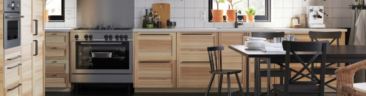 Ikea Kitchen with wood doors and drawers